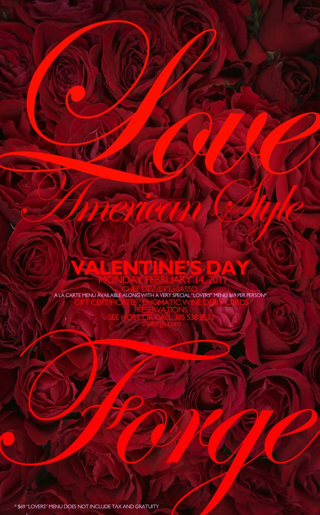 Love American Style Valentines Day at The Forge, top Miami restaurant