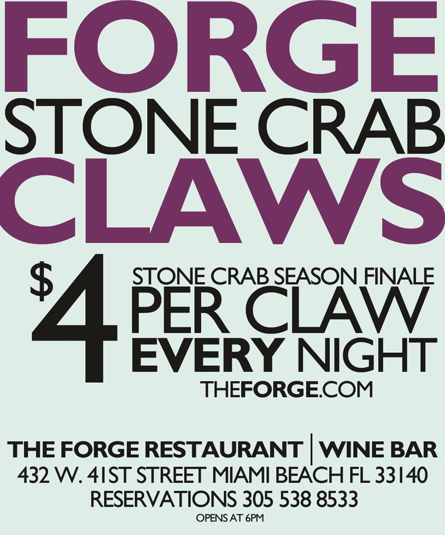 Forge Stone Crab Claws $4 Stone Crab Season Finale per Claw Every Night