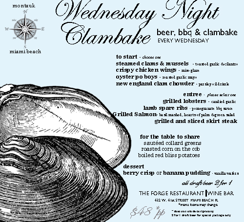 Wednesday Night Clambake at The Forge Miami